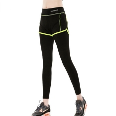 Harga Wanita Sport Celana Elastis Tinggi Kebugaran Gym Yoga Sports Dua Potong Breathable Running Workout Cepat Kering Celana Hijau Fullset Murah