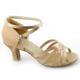 Spesifikasi Wanita Brillante Latin Ballroom Sepatu Tari Latin Sepatu Khaki Warna