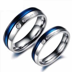 Cincin Wanita Titanium Cincin Baja Biru Accessary Pasangan Perhiasan Pria Wanita Cincin dengan 1 CZW
