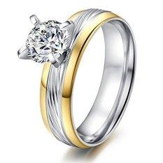 Women's Stainless Steel CZ Cubic Zirconia Janji Pertunangan Kawin Cincin, Emas Edge