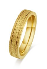 Womens Stainless Steel Kawin Cincin Frosted untuk Pasangan Pertunangan Janji, Emas, Ukuran 5