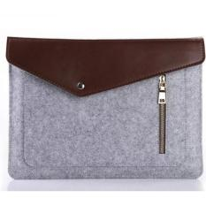 Jual Wool Felt Laptop Notebook Sleeve Case With Zipper For Macbook 13 Inch Grey Dki Jakarta Murah