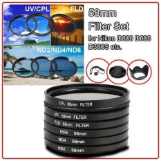 XCSource 58mm Filter Kit UV CPL FLD ND2 4 8 +Lens Hood Cap for Canon T4i T4 T3i T2i 700D 650D 600D  450D 400D 350D 1000D hitam