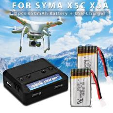 Dimana Beli Xcsource Baterai Batere Cadangan 2 Pcs 3 7V 650Mah Battery Usb Charger For Syma X5C X5A X5Sc X5Sw Quadcopter Xcsource