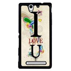 Y & M Cell Phone Case untuk SONY Xperia C3 I Love U Dicetak Cover (Multicolor)