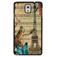 Y&M Eiffel Tower Blue Butterfly Music Note Phone Covers for Samsung Galaxy Note 4 (Multicolor)