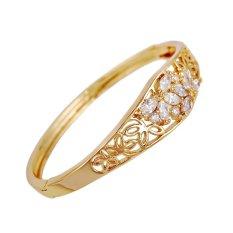 Yazilind 22 K Berlapis Emas Pola Bunga Zirkon Wanita Bangle Pernikahan Perhiasan Hadiah