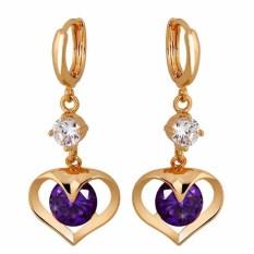 Yazilind Berlapis Emas Yang Indah Bentuk Cinta Putih Crystal Rhinestone Ungu Anting Wanita Perhiasan