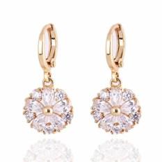 Yazilind Noble Berlapis Emas Bloom White Crystal Rhinestone Women Earrings Jewelry