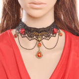 Model Yazilind Wanita Bunga Merah Rhinestonec Party Necklace Terbaru