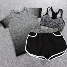 Yoga Pakaian Baju Olahraga 3 Pcs Olahraga dan Kebugaran Yoga Pakaian Setelan Jas Tiga Potong Wanita Jogging Outdoor Kecepatan Pengeringan Wicking Shorts (Hitam atau Abu-abu) -Intl