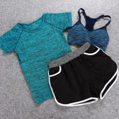 Yoga Pakaian Baju Olahraga 3 Pcs Olahraga dan Kebugaran Yoga Pakaian Setelan Jas Tiga Potong Wanita Jogging Outdoor Kecepatan Pengeringan Wicking Shorts (Danau Biru) -Intl