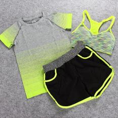 Yoga Pakaian Baju Olahraga 3 Pcs Olahraga dan Kebugaran Yoga Pakaian Setelan Jas Tiga Potong Wanita Jogging Outdoor Kecepatan Pengeringan Wicking Shorts (Kuning atau Grey) -Intl