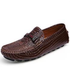 Beli Muda Fashion Bernapas Kasual Sepatu Buaya Brown Cicilan