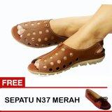 Jual Yutaka Sepatu Wanita B3 Tan Gratis Sepatu N37 Merah Branded Murah