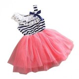 Spesifikasi Zloob Girls Kids Stripe Net Yarn Bubble Dress Ball Gown Dress Lace Cotton Material Merah Baru