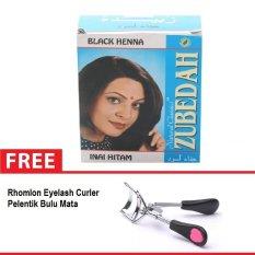 Spesifikasi Zubedah Henna Herbal Inai Pewarna Rambut Hitam 6 Pcs Free Rhomlon Eyelash Curler Pelentik Bulu Mata Zubedah