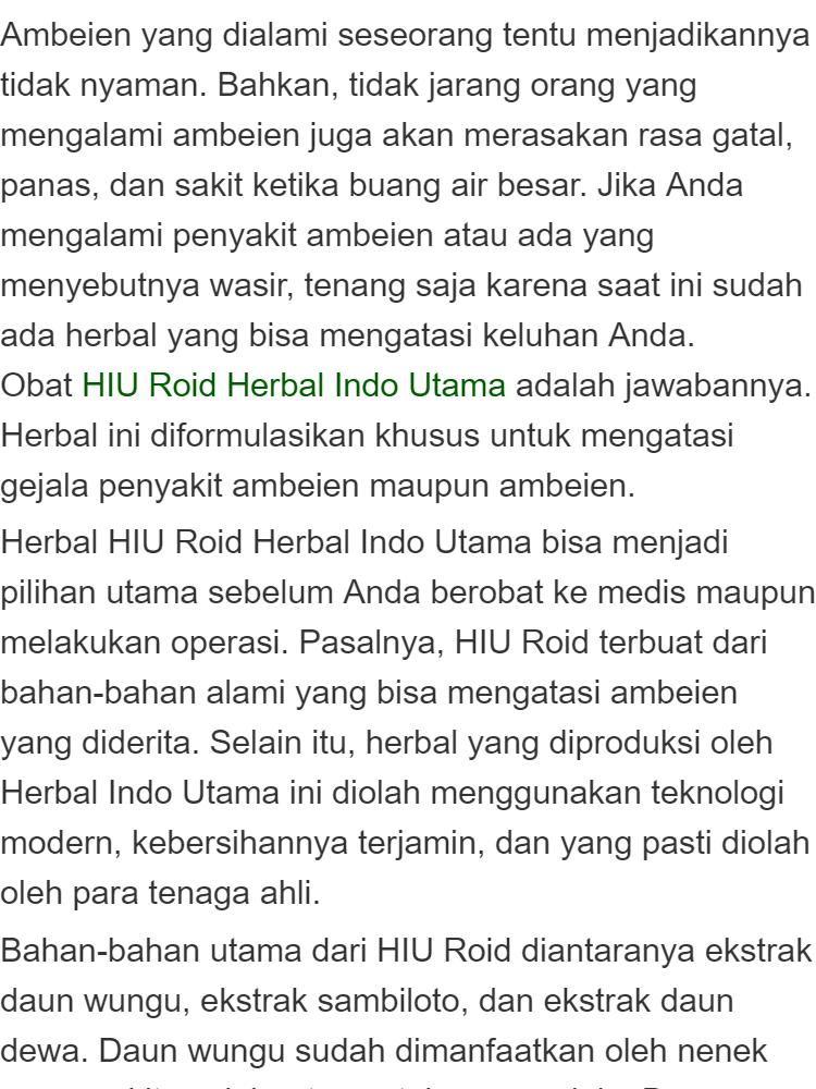 ... HIUROID HERBAL INDO UTAMA OBAT AMBEIEN WASIR ALAMI HIU ROID