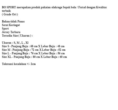 Bo Sport Jersey Timnas Training Indonesia 18 - 19