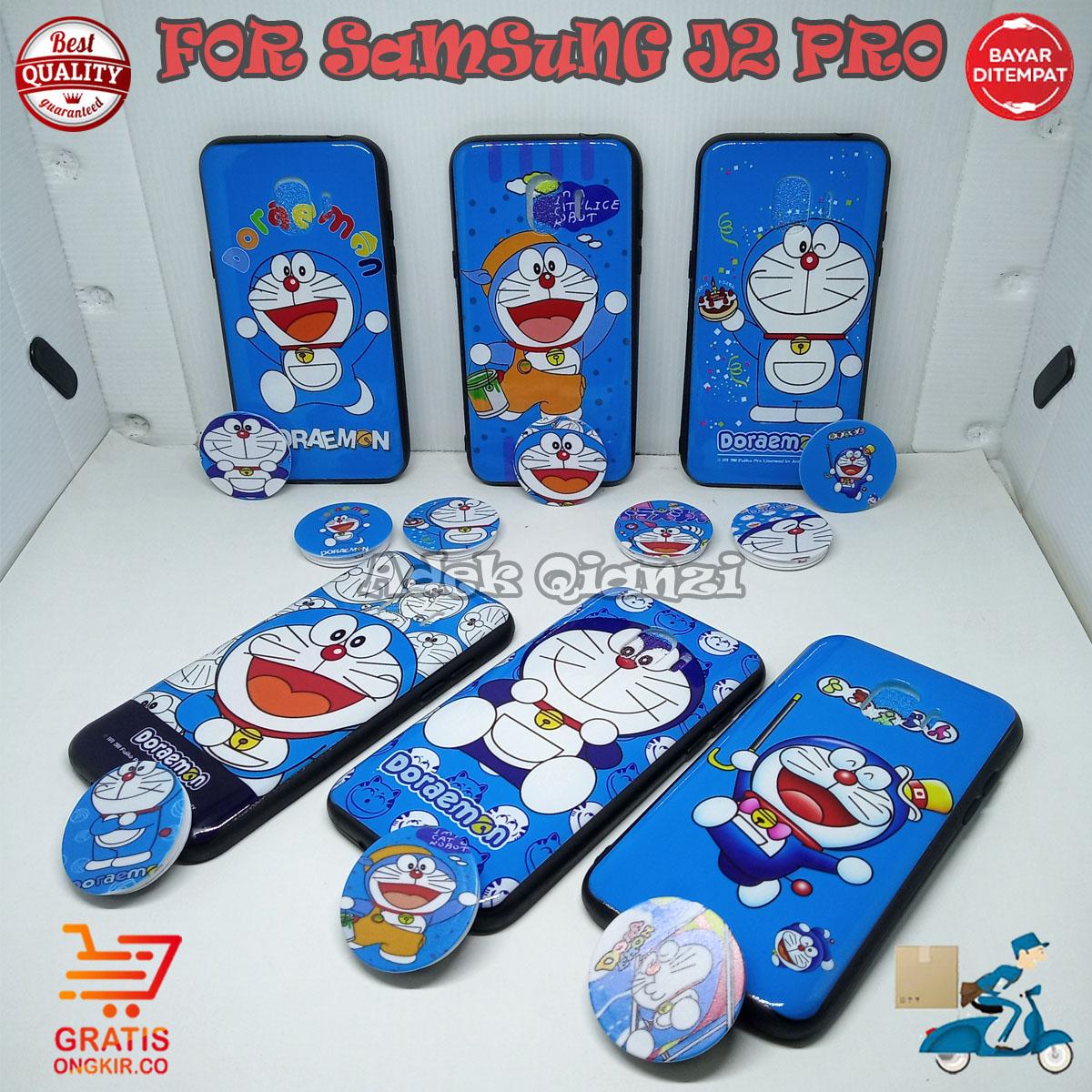 SofCase Casing Karakter Kartun Doraemon Lucu 3D Free Popsocket Cantik For SAMSUNG J2 PRO