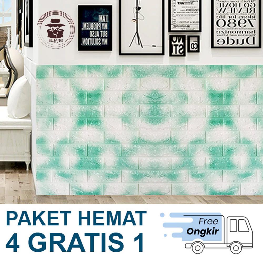5 Pcs X Wallpaper Dinding Foam 3D Batu Bata Putih Size 70 X 77cm Bujang Lapuk