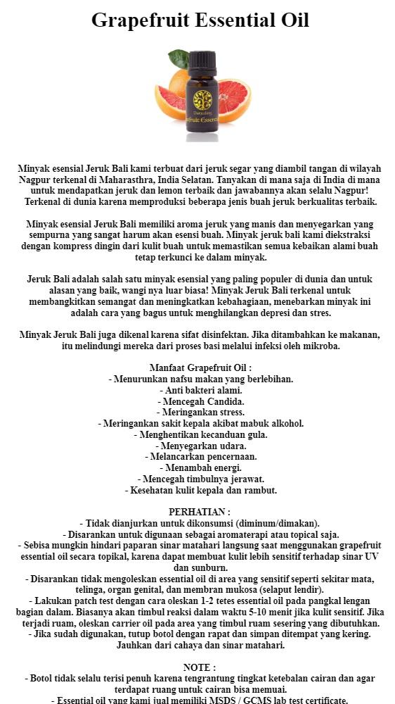 Darjeeling Grapefruit Essential Oil | Minyak Jeruk Bali 100% Alami - 10ml