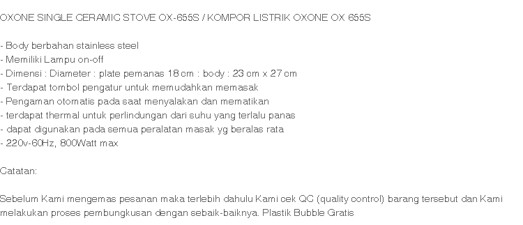 Oxone Kompor LIstrik Satu Tungku OX-655S