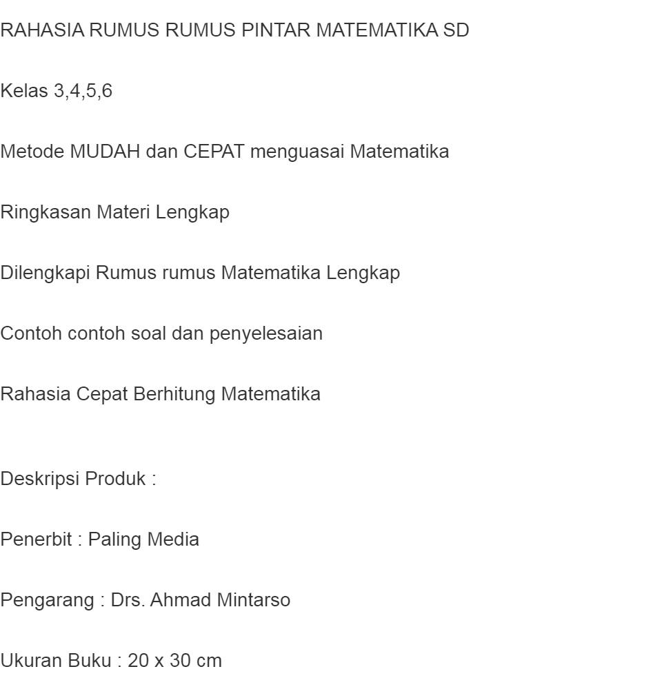 Super Cepat Rumus Rumus Matematika Sd Kunci Jitu Jadi Rangking 1 Lazada Indonesia