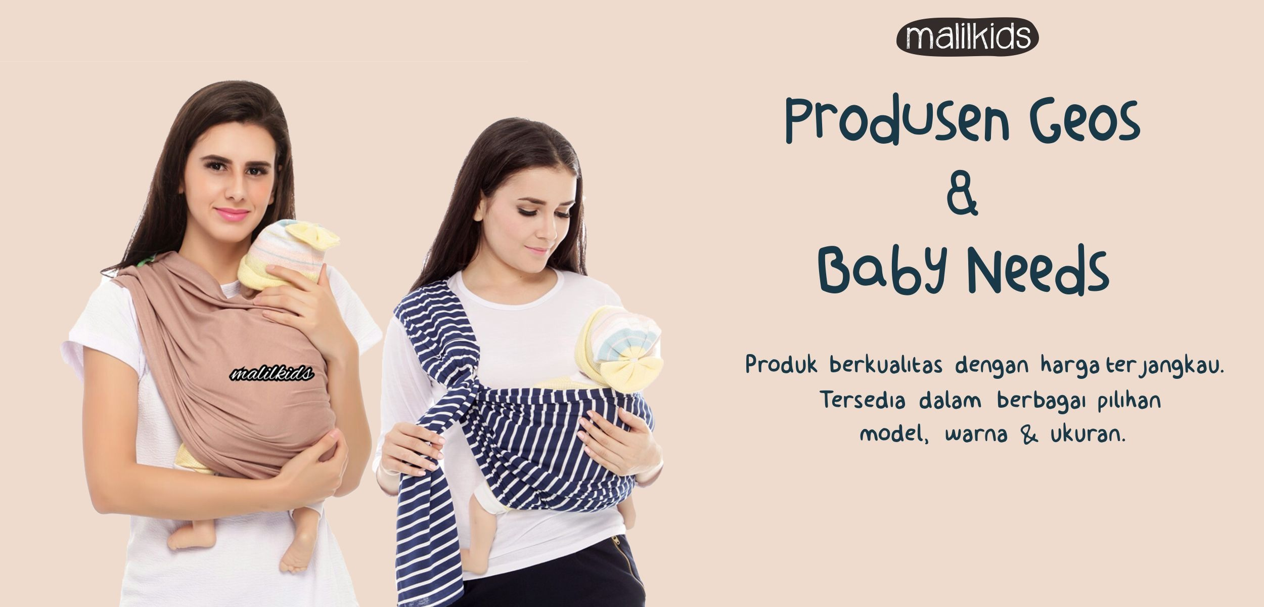 Rp89.000Gratis Pouch! Size L - Malilkids Geos / Gendongan Kaos Premium / Gendongan Instan - Model Lil Love Grey