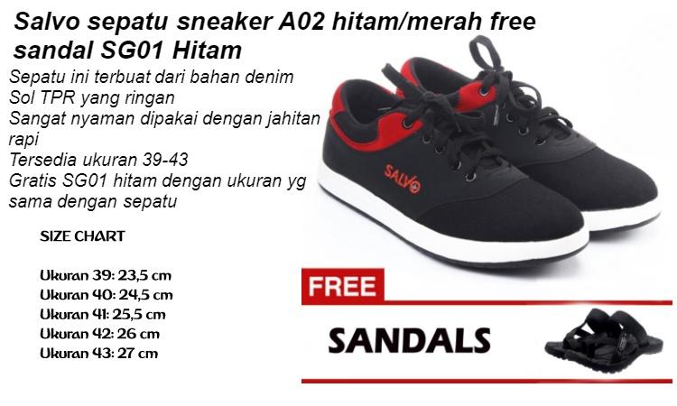 Salvo sepatu sneaker A02 hitam/merah free sandal SG01 Hitam | Lazada Indonesia