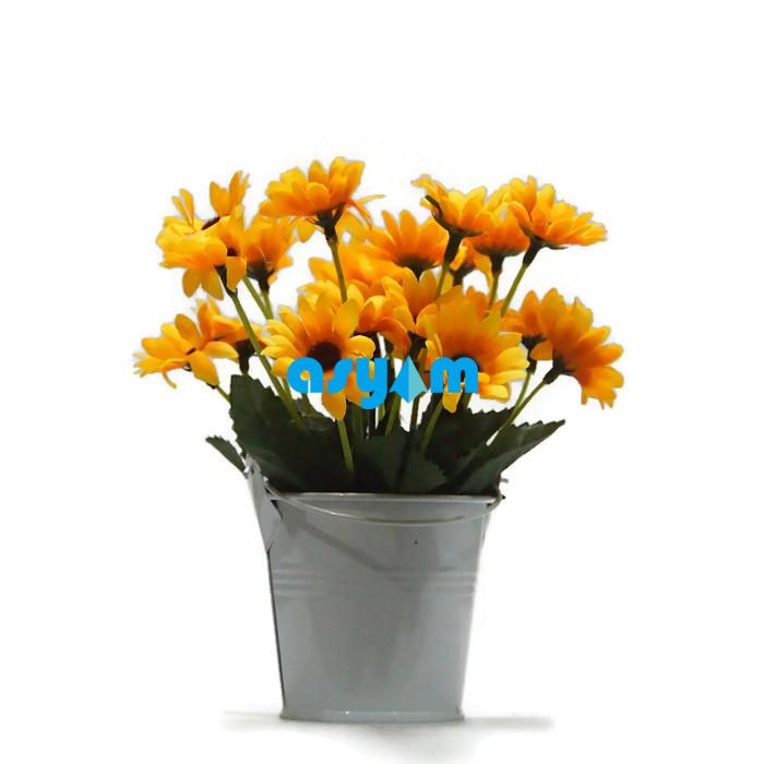 Asy4m Bunga Hiasan Artificial Bunga Pajangan Meja Dan Ruang Tamu Bunga Matahari Pot Kaleng Mini K11 Lazada Indonesia
