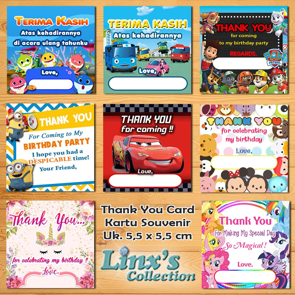 25 Pcs Kartu Souvenir Ulang Tahun / Thank You Card Lazada Indonesia