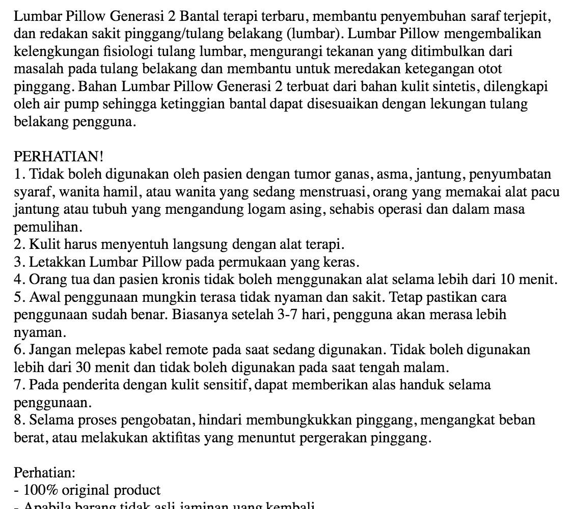 Jual Jaco Lumbar Pillow Gen 2 Bantal Kesehatan Tulang Belakang Harga Health Pilow Alat Rp 4500000