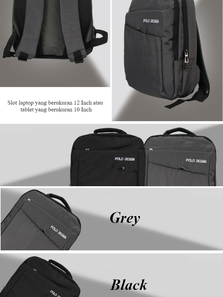 Polo Design Small Backpack 9056-06 Tas ransel pria Tas ransel wanita Tas sekolah Tas