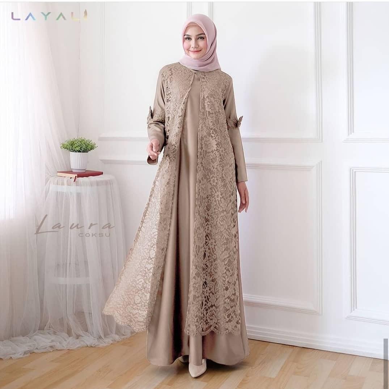 LAURA MAXY DRESS Mix Brukat - Baju Gamis Terbaru - Baju Gamis Wanita  Terbaru - Gamis Remaja - Baju Gamis Modern - Baju Gamis Mix Brukat - Gamis  Remaja