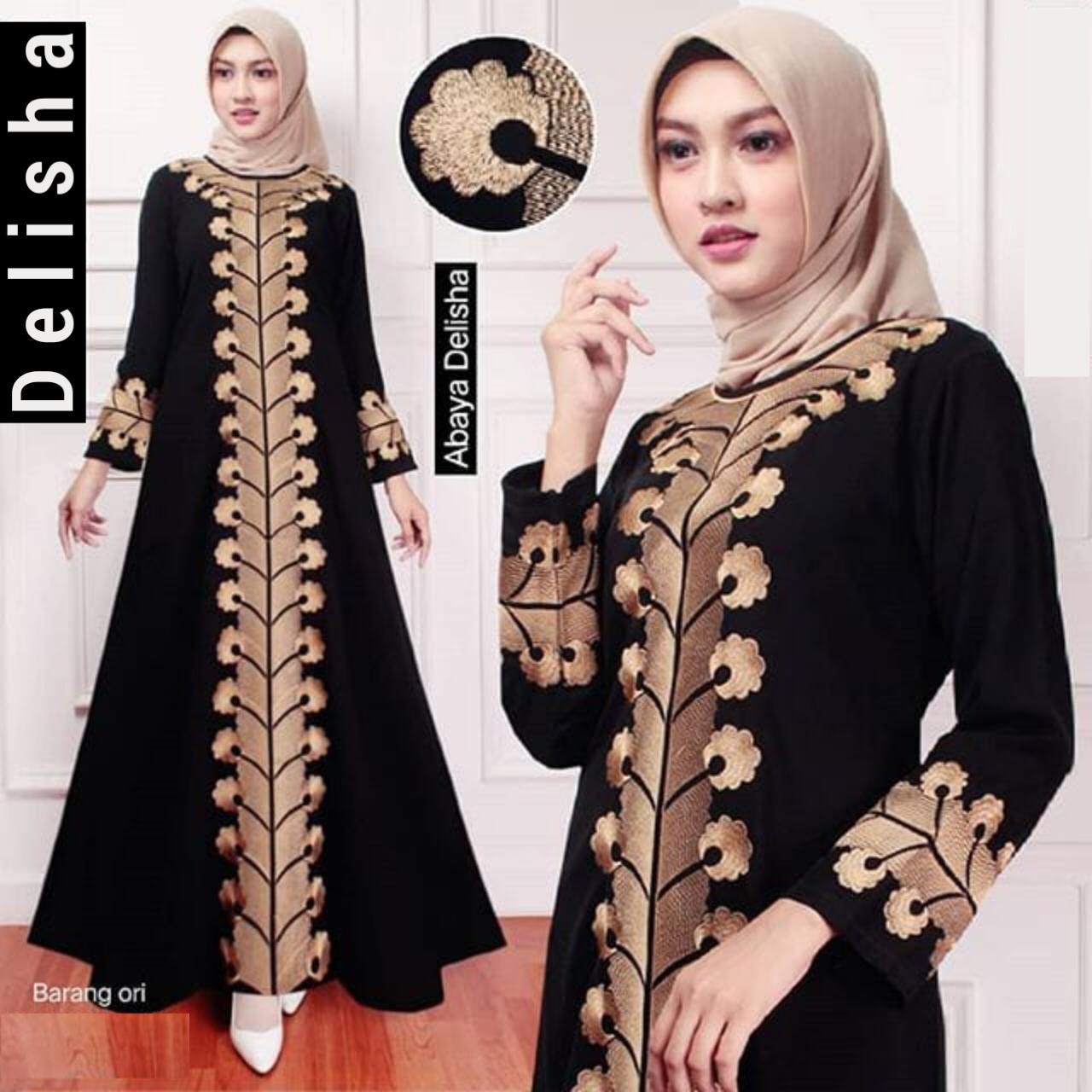Baju gamis abaya arab turki dubai wanita muslim terbaru 11 bordir asli  bukan tempelan