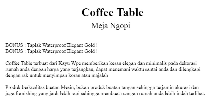 MH529A Coffee Table Meja Ngopi vintage MEGAHOME