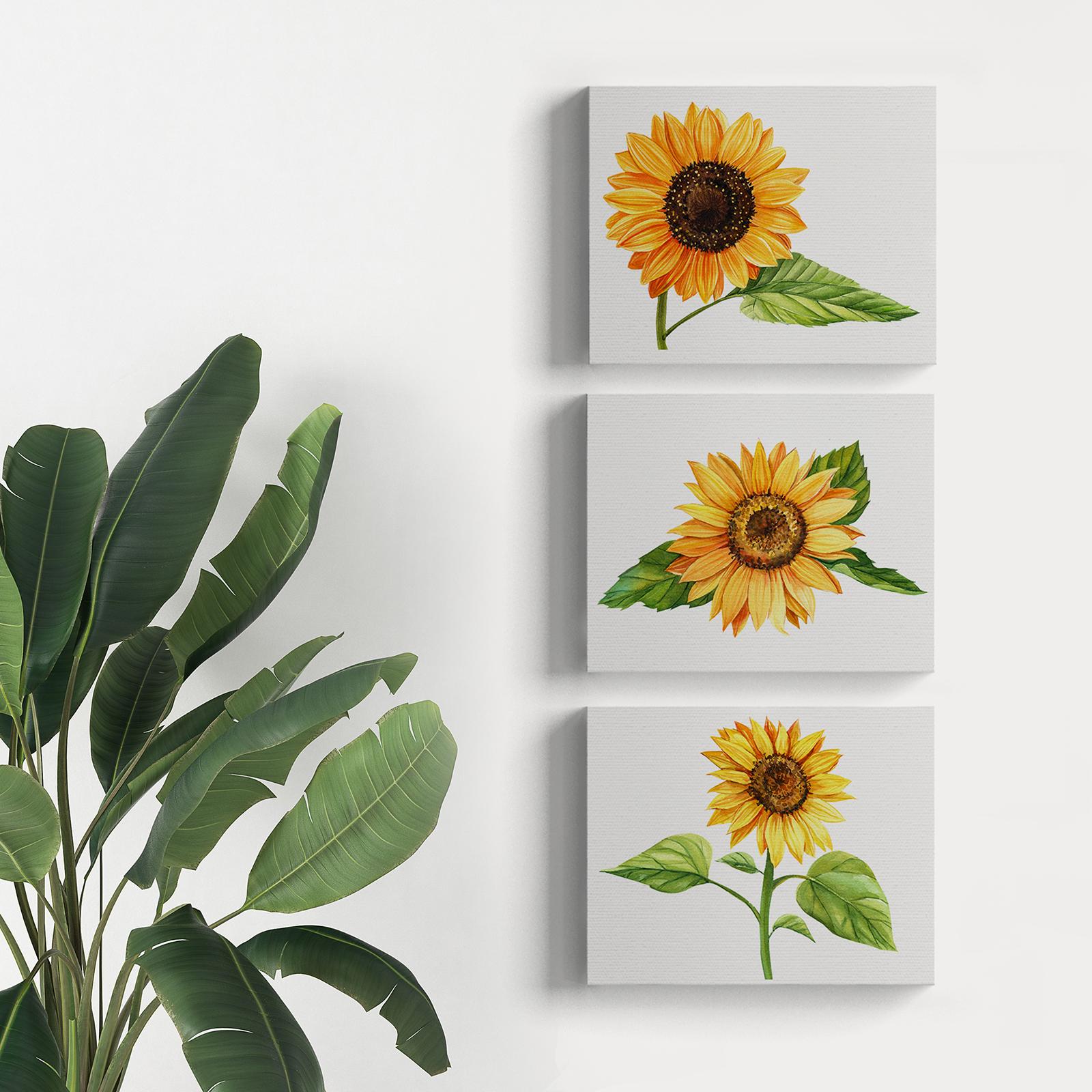 Lukisan Dekorasi Sunflower Poster Kanvas Hiasan Dinding Bunga