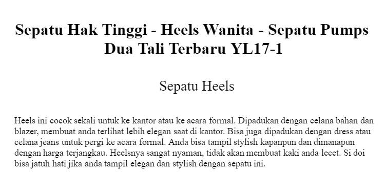 Sepatu Hak Tinggi Heels Wanita Sepatu Pumps Dua Tali Terbaru Yl17 1 ... 537121e62d