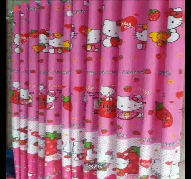 Gorden Karakter Hello Kitty Pink Strawberry Tirai Jendela Pintu Minimalis Murah Dekorasi Kamar Tidur Anak Lazada Indonesia