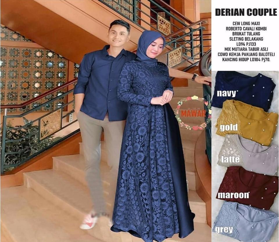 Baju Original Setelan DERIAN COUPLE Dress Velvet Mix Brukat Kemeja Velvet  (Atasan Pria + Dress Wanita) Baju Atasan Casual Terbaru Fashion Lengan
