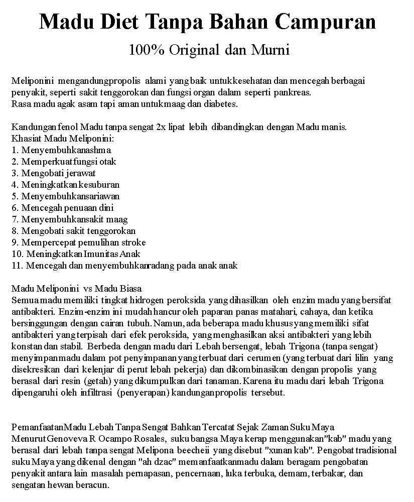 Jual Beli Madu Diet Tanpa Bahan Campuran Harga Rp 350000