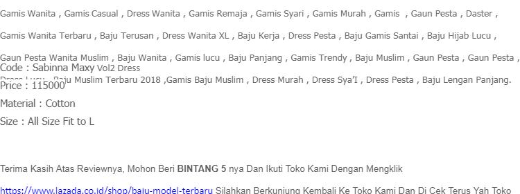 Gamis Sabinna Maxy Vol2 Dress Cotton Baju Wanita Gamis Baju Terusan Panjang  Baju Kerja Gaun Pesta ff55eb4950