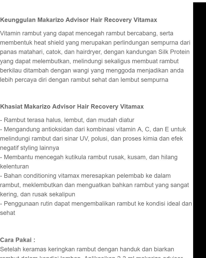 MAKARIZO HAIR RECOVERY VITAMIN RAMBUT SPRAY - 50ML .
