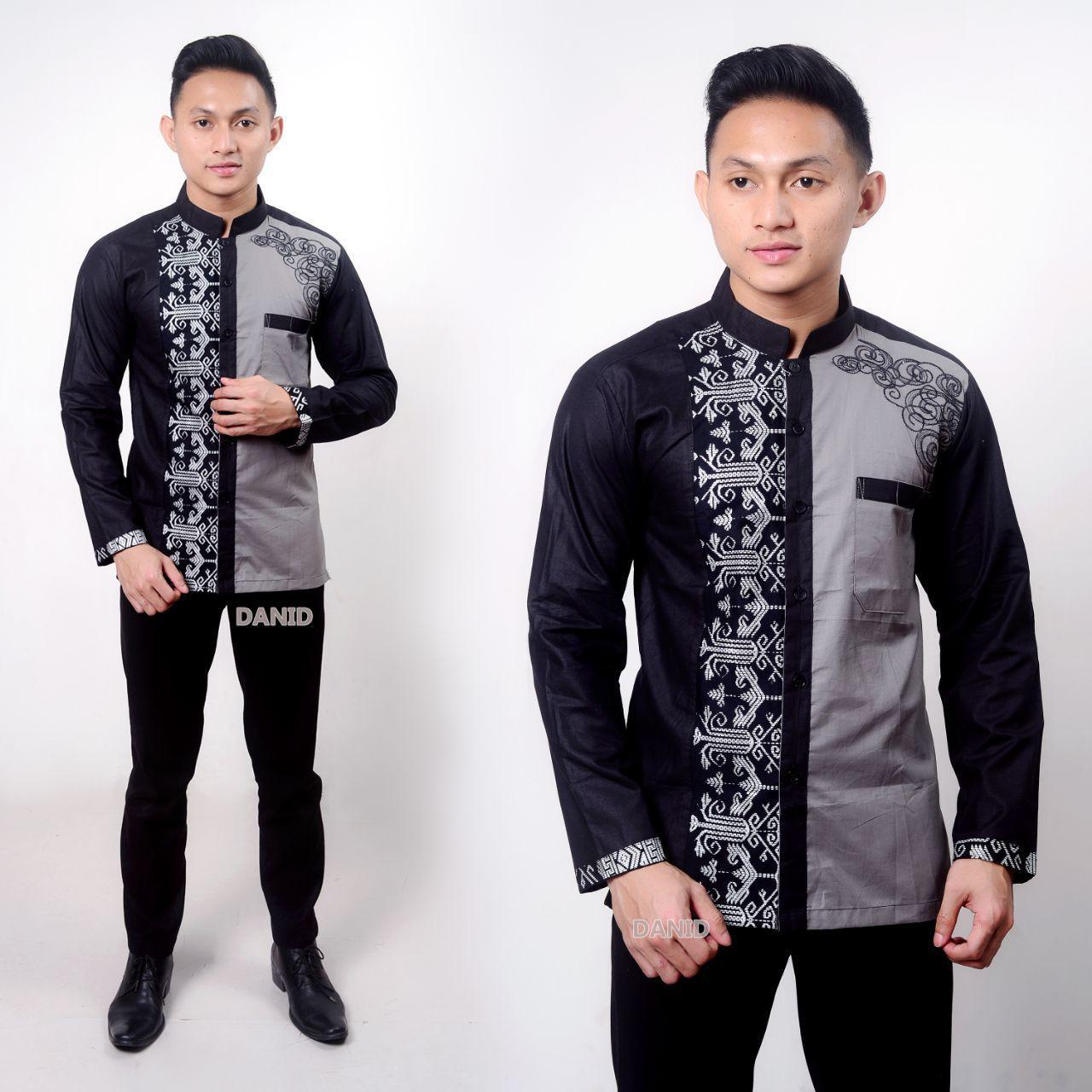 Baju Koko Muslim Pria Terbaru 2019 Baju Koko Bordir Kombinasi Batik Lengan Panjang Kemeja Koko Lazada Indonesia