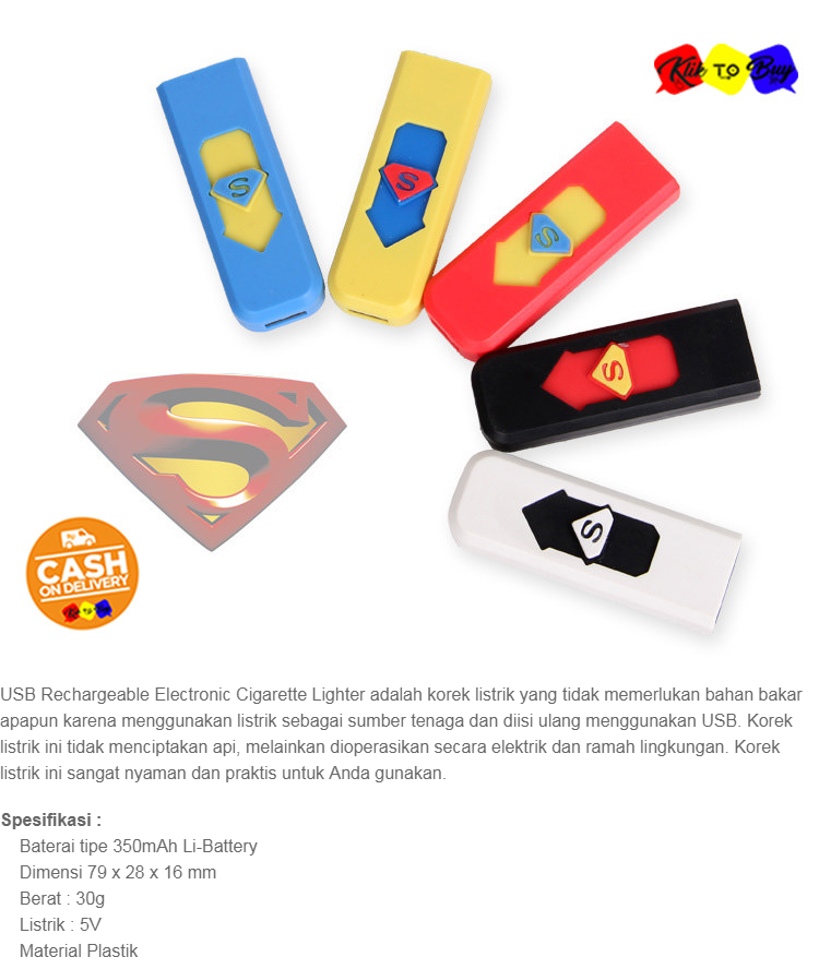 Korek Api Elektrik Klik To Buy Lighter USB Anti Angin - Random Colour