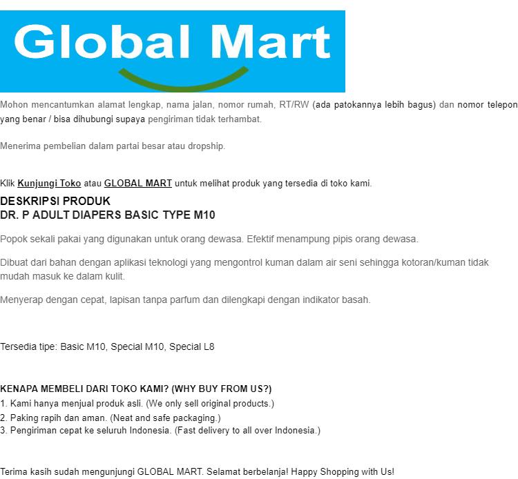 DR P DRP Adult Diapers Popok Dewasa Basic Type Perekat L8 L 8. Source · Dr.P Adult Diapers Basic M10 - PENGIRIMAN CEPAT