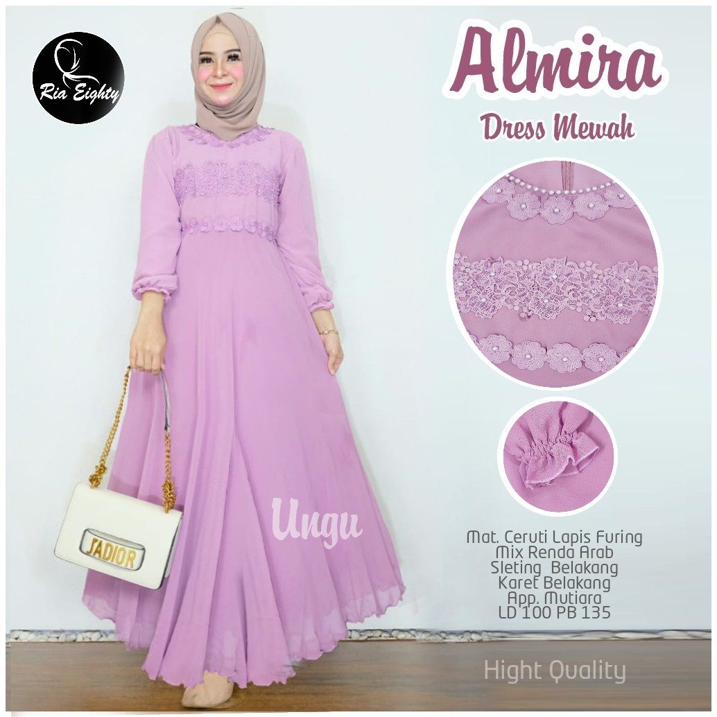 Almira Dress Mewah Ceruti Lapis Furing Mix Renda ArabGamis Remaja Masa  KiniGamis Brokat Modern 12Gamis Remaja KekinianModel Baju Gamis Brokat