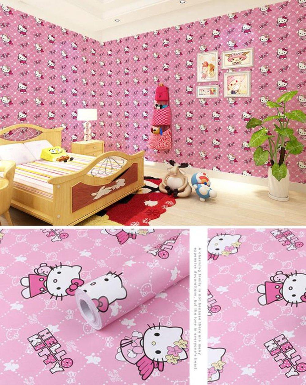 Wallpaper Stiker Dinding Motif Dan Karakter Premium Quality Size 45cm X 10M Hello Kitty
