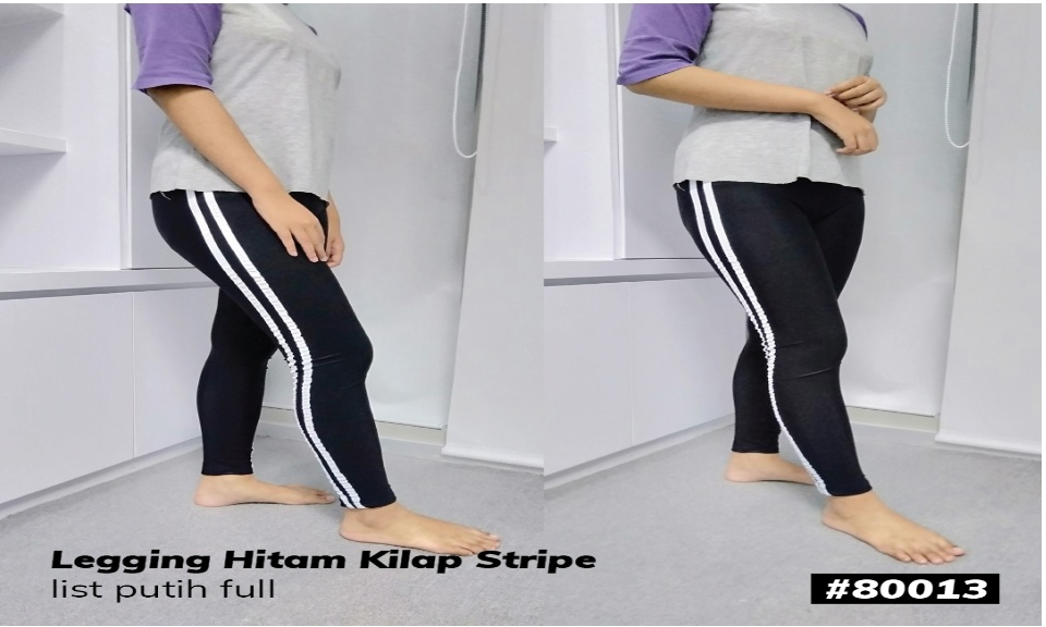 Promo Celana Legging Wanita List 2 Putih Lazada Indonesia